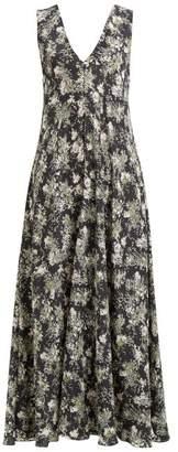 Raey Ditsy Floral-print Silk Dress - Womens - Black Print