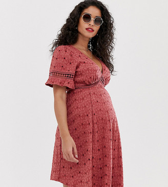 Asos DESIGN Maternity broderie tea dress with woven ladder trim