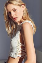 Silence & Noise Silence + Noise Sally Lace-Up Side Cropped Top