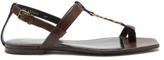 Saint Laurent Cassandra monogram T-bar Leather Sandals - Dark Brown