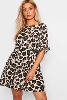 boohoo Plus Leopard Print Smock Dress
