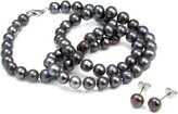 Orchira Black Near Round 6-7mm Knotted Pearl Necklace with Sterling Silver Lobster Clasp with Matching Silver Earring Studs