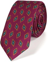 Charles Tyrwhitt Pink luxury wool diamond print slim tie