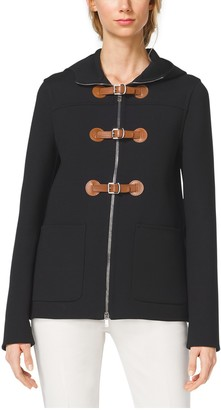 Michael Kors Hooded Crepe Toggle Coat
