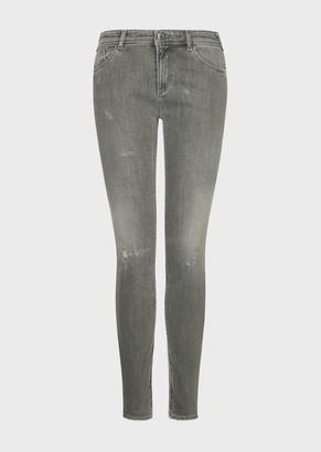 Emporio Armani J28 Micro-Scraped, Skinny-Fit, Vintage-Look Denim Jeans