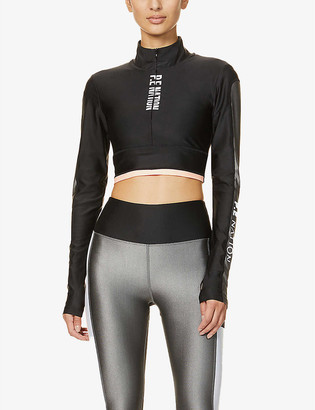 P.E Nation Side Runner long-sleeved stretch-jersey crop top