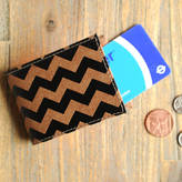 Undercover Recycled Leather Black Chevron Print Travel Card Holder