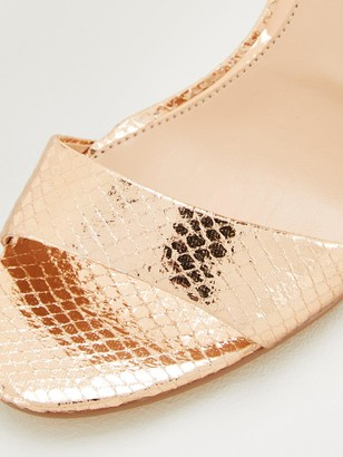 Very Gemini Mid Heel Barely There Sandals - Rose Gold
