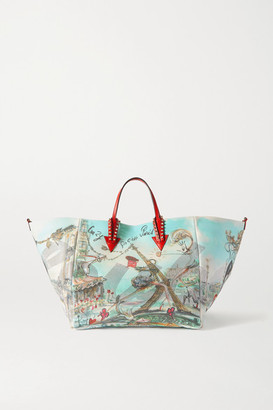 Christian Louboutin Cabaraparis Large Embellished Leather-trimmed Printed Canvas Tote - Red