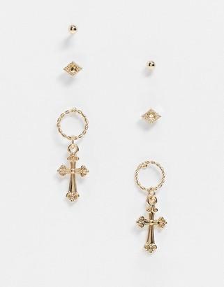 Liars & Lovers earrings multipack x 3 with studs and cross hoops in gold