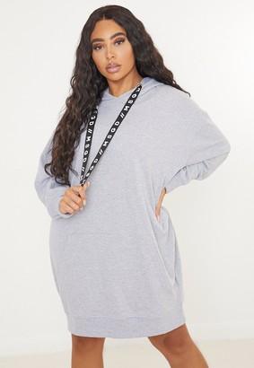 Missguided Plus Size Grey Msgd Slogan Tape Hoodie Dress