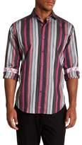 Thomas Dean Striped Long Sleeve Sport Fit Shirt