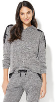 New York & Co. Lace-Accent Marled-Knit Hoodie