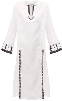 ZEUS + DIONE Tangara Embroidered Linen Midi Dress - Womens - White