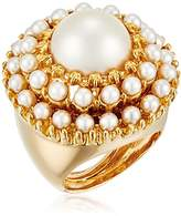 Kenneth Jay Lane Gold and Pearl Cabochons with Pearl Center Round Ring, Size 5-7