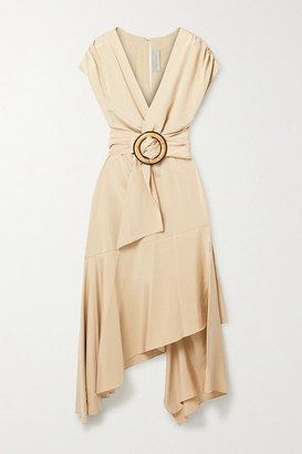 Silvia Tcherassi Protea Belted Wrap-effect Silk Crepe De Chine Midi Dress - Beige