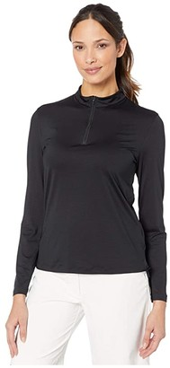 Nike Dry UV Long Sleeve Victory 1/2 Zip Top (Black/Black) Women's Clothing