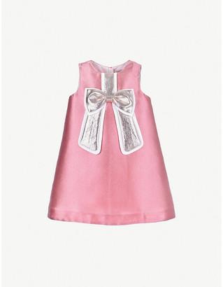 Hucklebones London Gilded bow satin shift dress 4-12 years