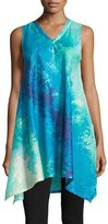Natori Floral Stream Printed Lounge Tunic, Blue Multi