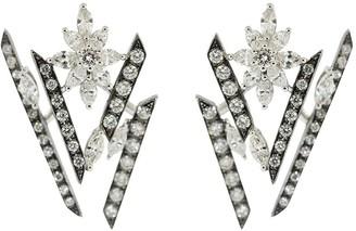 YEPREM 18kt White Gold Diamond Floral Earrings