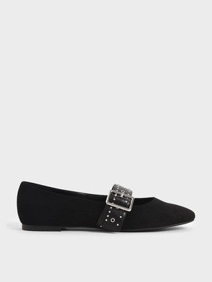 Charles & Keith Textured Studded Mary Jane Flats