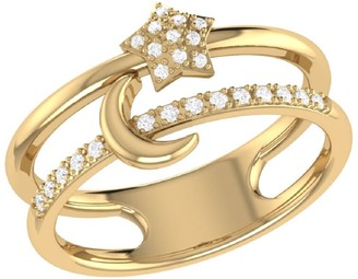 Lmj Starlit Crescent Double Band Ring In Yellow Gold