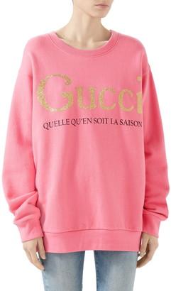 Gucci La Saison Glitter Logo Cotton Sweatshirt