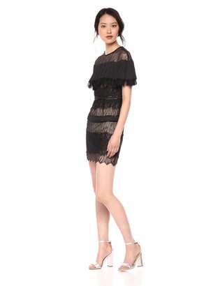 Halston Women's Short Sleeve Pleated Lace Dress with Beading