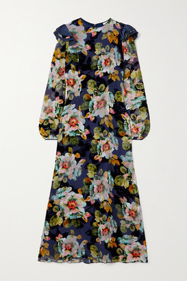 Rodarte Ruffled Floral-print Devore-chiffon Midi Dress - Navy