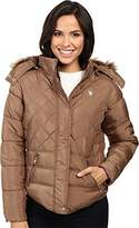 U.S. Polo Assn. Women's Diamond Quilted Puffer Jacket with Faux Fur Hood