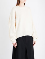 Y's Ys Cable-knit relaxed-fit wool-blend jumper