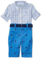 Ralph Lauren Childrenswear Three-Piece Checkered Shirt, Twill Pants and Canvas Belt Set