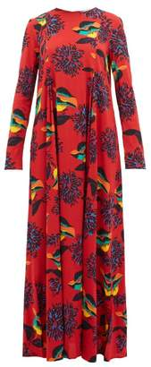 La DoubleJ Trapezio Floral-print Crepe Dress - Womens - Red