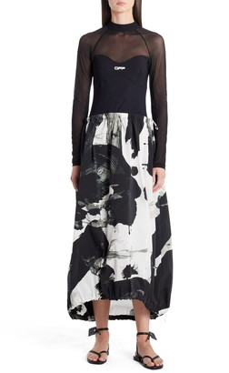 Off-White Paint Print Active Long Sleeve Midi Dress