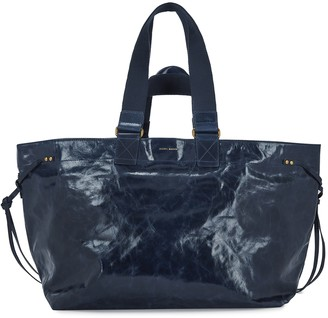 Isabel Marant Wardy navy crinkled leather tote