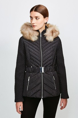 Karen Millen Short Quilted Faux Fur Trimmed Hood Coat
