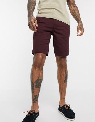 Burton Menswear chino shorts in burgundy