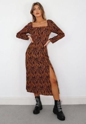 Missguided Rust Zebra Print Square Neck Midi Dress