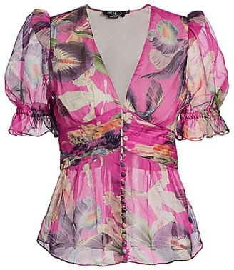 PatBO Grace Puff-Sleeve Floral Blouse