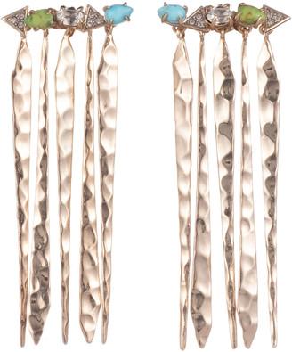 Alexis Bittar Multi-Stone Hammered Fringed Post Earrings