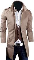 Kiistyle Mens Trench Coat Casual Stand Collar Solid Color Single Breasted__XL