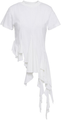 Marques Almeida Asymmetric Ruffled Cotton-jersey T-shirt