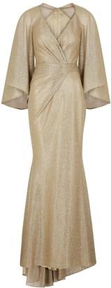 Talbot Runhof Conley gold foil-print gown