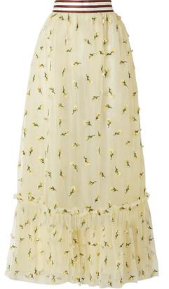 Ganni Bliss Floral-appliqued Tulle Maxi Skirt
