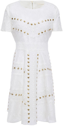 Maje Flared Studded Lace Mini Dress