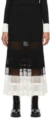 Alexander McQueen Black and Off-White Rib Knit Skirt