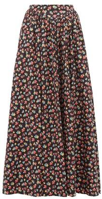 STAUD Mushroom-print Cotton-blend Maxi Skirt - Black Multi