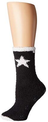 Karen Neuburger Star Gripper Sock (Black) Women's Crew Cut Socks Shoes