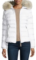 Bogner Short Hooded Down Coat w/ Fur Trim, Off White