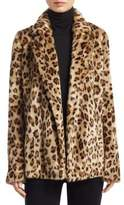 Theory Clairene Leopard Print Faux Fur Blazer